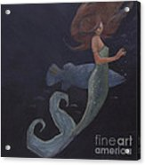 Mermaid And The Blue Fish Acrylic Print