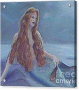 Mermaid In Moonlight Acrylic Print