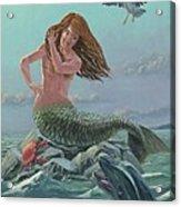 Mermaid On Rock Acrylic Print