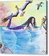 Mermaid Pelicans Surf Beach Cathy Peek Art Acrylic Print