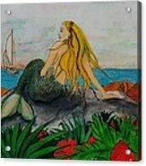 Mermaid Sailboat Flowers Cathy Peek Fantasy Art Acrylic Print