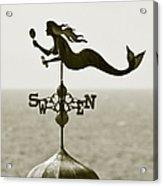 Mermaid Weathervane In Sepia Acrylic Print by Ben and Raisa Gertsberg