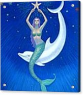 Mermaids- Dolphin Moon Mermaid Acrylic Print