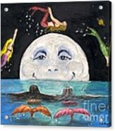 Mermaids Jumping Over Moon Cathy Peek Acrylic Print