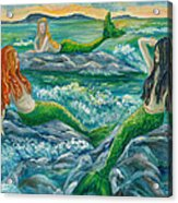Mermaids On The Rocks Acrylic Print