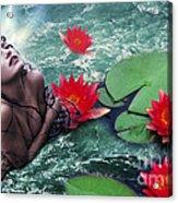 Mermeid And Water Lilies Acrylic Print