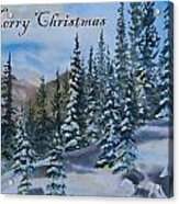 Merry Christmas - Winter Trees And Mountains Acrylic Print