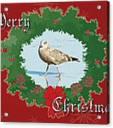Merry Christmas Greeting Card - Young Seagull Acrylic Print