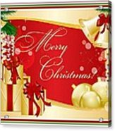 Merry Christmas Greeting With Gifts Bows And Ornaments Acrylic Print