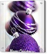 Merry Christmas Purple Baubles Acrylic Print