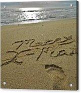 Merry Christmas Sand Art Footprint 4 12/25 Acrylic Print