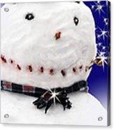 Merry Christmas Snowman Acrylic Print