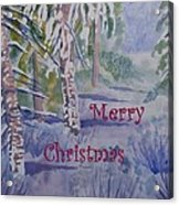 Merry Christmas - Snowy Winter Path Acrylic Print
