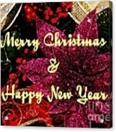 Merry Christmas With Purple Poinsettia Acrylic Print