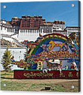 Message Of Joy From Potala Palace In Lhasa-tibet  Acrylic Print