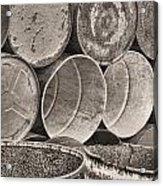 Metal Barrels 2bw Acrylic Print
