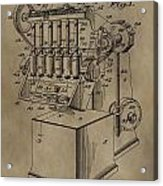 Metal Working Machine Patent Acrylic Print