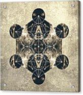 Metatron's Cube Silver Acrylic Print by Filippo B