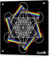 Metatron's Rainbow Healing Cube Acrylic Print