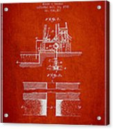 Method Of Drilling Wells Patent From 1906 - Red Acrylic Print