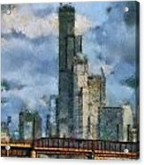 Metra Train View Sears Willis Tower Mixed Media 03 Acrylic Print