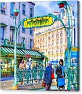 Metropolitain - Parisian Subway Street Scene Acrylic Print