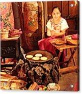 Mexican Girl Making Tortillas Acrylic Print