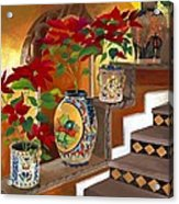 Mexican Pottery On Staircase Acrylic Print by Judy Swerlick