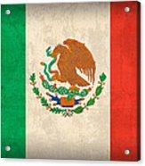 Mexico Flag Vintage Distressed Finish Acrylic Print