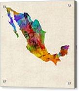 Mexico Watercolor Map Acrylic Print