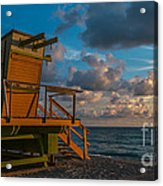 Miami Beach Lifeguard Station Glows From The First Light Of Day - Panoramic Acrylic Print