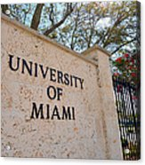 Miami Campus Sign In Spring Acrylic Print by Replay Photos
