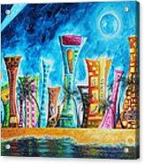 Miami City South Beach Original Painting Tropical Cityscape Art Miami Night Life By Madart Absolut X Acrylic Print