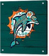 Miami Dolphins Football Team Retro Logo Florida License Plate Art Acrylic Print
