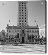 Miami Freedom Tower 3 - Miami - Florida - Black And White Acrylic Print