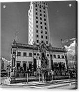 Miami Freedom Tower 4 - Miami - Florida - Black And White Acrylic Print