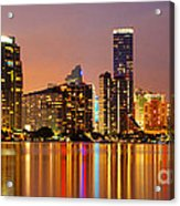 Miami Skyline At Dusk Acrylic Print