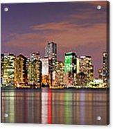 Miami Skyline At Dusk Sunset Panorama Acrylic Print