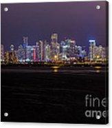 Miami Skyline Bay View Acrylic Print
