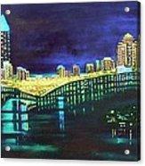 Miami Skyline Of Lights Acrylic Print