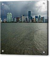 Miami Skyline Storm Acrylic Print