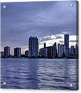 Miami Skyline Waves Acrylic Print