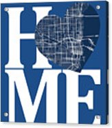 Miami Street Map Home Heart - Miami Florida Road Map In A Heart Acrylic Print