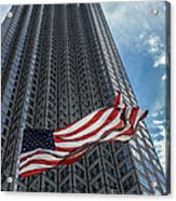 Miami's Financial Center And Old Glory Acrylic Print by Rene Triay Photography