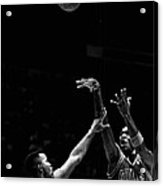 Michael Jordan Shooting Over Another Player Acrylic Print by Retro Images Archive