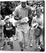 Michael Jordan Signing Autographs Acrylic Print by Retro Images Archive