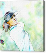 Michelle Wie Hits Her Tee Shot On The Sixth Hole Acrylic Print