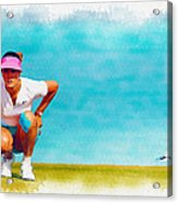 Michelle Wie Lines Up A Putt On The Eighth Green Acrylic Print