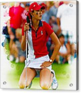 Michelle Wie Of The Usa Solhiem Cup Reacts After Missing A Putt Acrylic Print