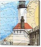 Michigan City Lighthouse In Nautical Chart Map Art Cathy Peek Acrylic Print